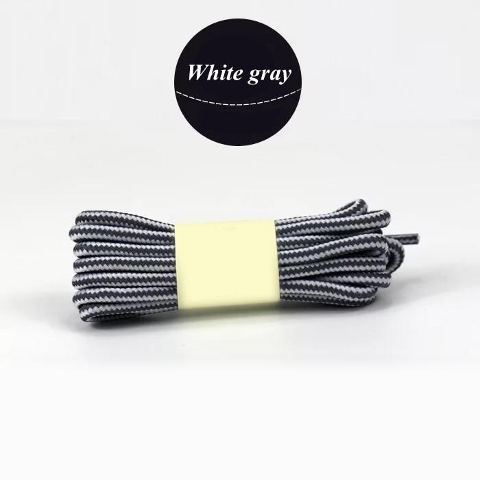 1 пара колготок в полоску двойной Цвет шнурки ботинки на открытом воздухе спортивные шнурки хлопок Круглые Шнурки 18 Цвета Длина 70 см, 90 см, 120 см 150 см - Цвет: White gray