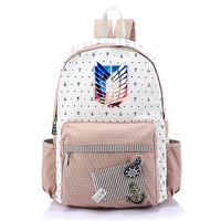 Anime Attack on Titan Canvas Bag Flower Dot Backpack for Teenagers Girls School Girl Shoulder Bags Mikasa Cartoon Backpacks
