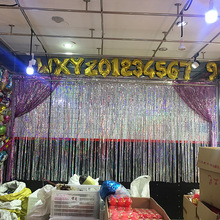 1*2m Gold Photo Backdrop for Birthday Party Wedding Deco Metallic Tinsel Foil Fringe Curtains Supplies
