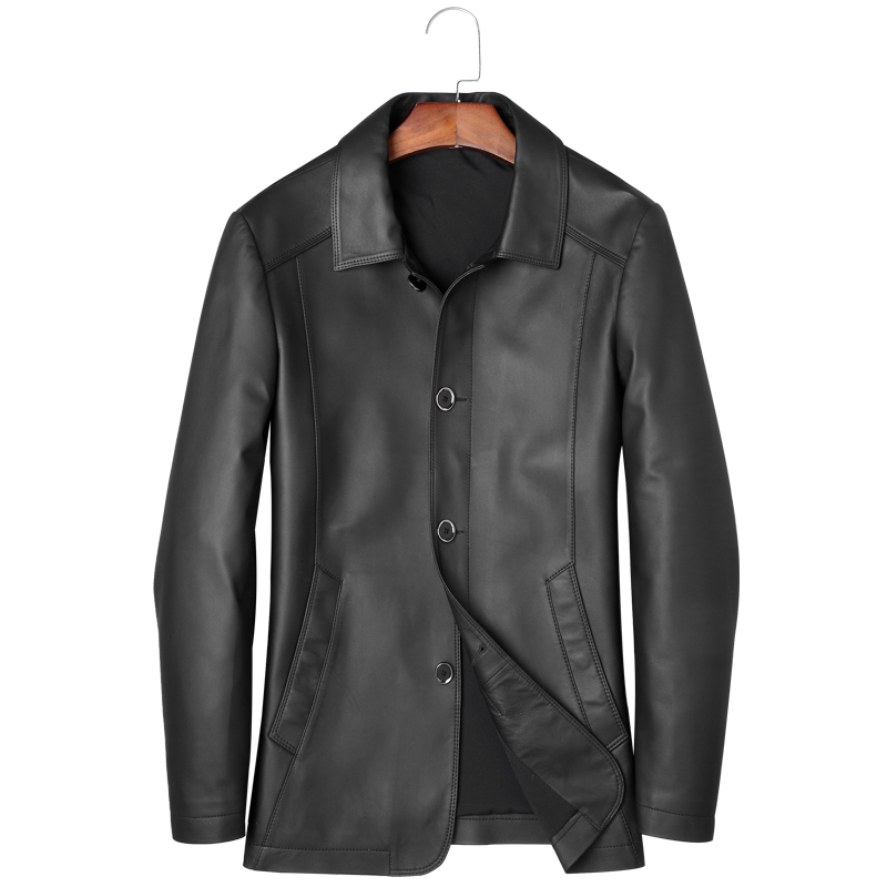 Men's Sheepskin Jacket Smart Casual 2019 Autumn New Genuine Leather Coat Real Natural Leather Jackets Outerwear(China)