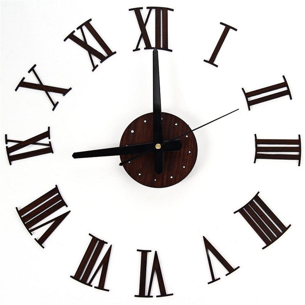 Europe Digital Wall Clocks Diy Vintage Wooden Wall Clock