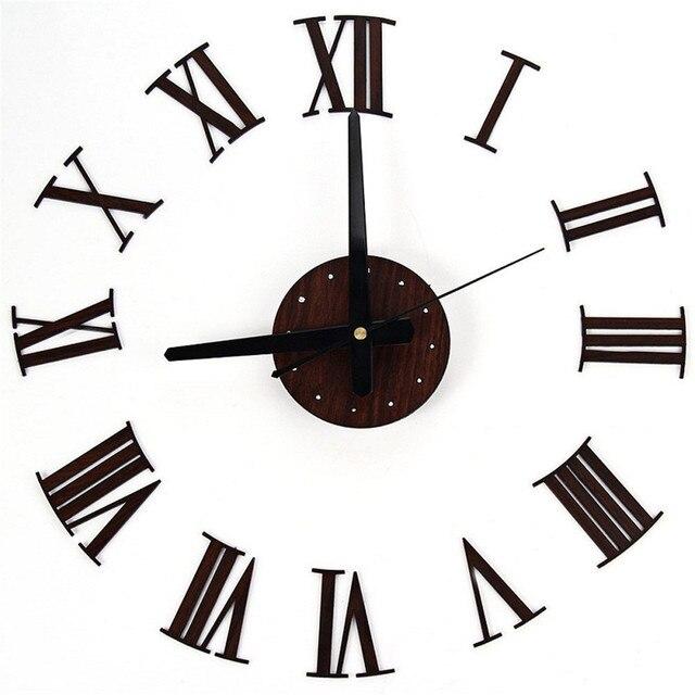 Europe Digital Wall Clocks DIY Vintage Wooden Wall Clock Roman Numeral  Retro Vinyl Sticker For Hanging