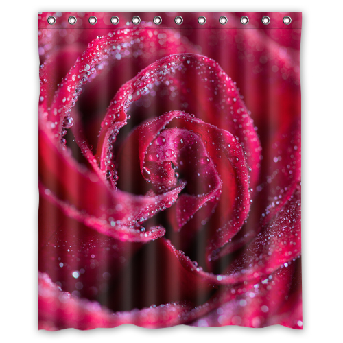 Raindrops Red Rose Customize Create Fabric Bath Waterproof Shower Curtain Bathroom Products Curtains 48x72 60x72 66x 72 Inches In From