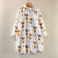 2016 Nueva Primavera Y Otoño Diseñan de Largo Más El Tamaño de Manga Larga de Cuello Vuelto de Impresión Oso de Algodón Blanco Blusa De Maternidad