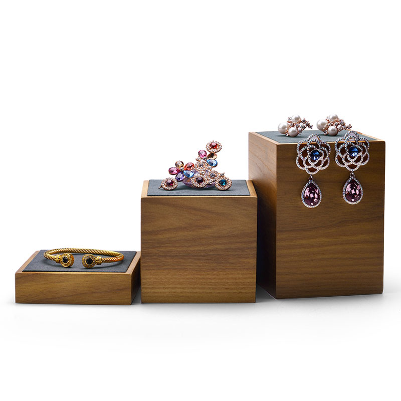 FANXI New Solid Wood Jewelry Display Stand Set with 3 pcs with Microfiber Ring Earring Bracelet