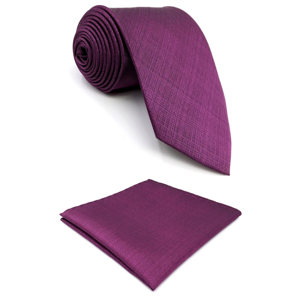 D11 Purple Solid Mens Necktie Silk Wedding Fashion Extra long size 63 Novelty Groom Dress Ties for male Hanky