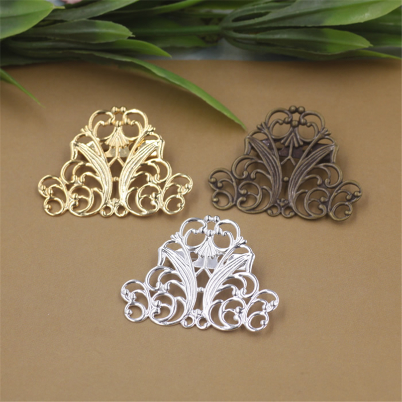 10Pcs 3 Colors Plated 29*37MM Hollow Out Flower Brooch Base Diy Jewelry Accessary