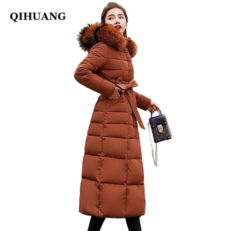 QIHUANG зимняя женская длинная пуховая куртка с меховым воротником с капюшоном тонкая женская куртка Толстая теплая Женская пуховая куртка ст...
