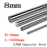 2pcs Lot HOT OD 8mm X 500mm Cylinder Liner Rail Linear Shaft Optical Axis Chrome For
