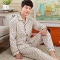 Homem Sono Pijama Para Pijama Outono Longo-sleeved Algodão Gola Virada Para Baixo Dos Homens Sleepwear Salão Sono Conjuntos de Pijama xadrez 100
