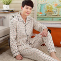 Man Sleep Nightshirt For Pajamas Autumn Long-sleeved Turn Down Collar Cotton Mens Sleepwear Sleep Lounge plaid Pajama Sets 100
