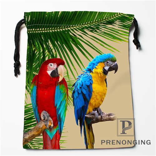 Custom Flowers Birds Drawstring Bags Printing Fashion Travel Storage Mini Pouch Swim Hiking Toy Bag Size 18x22cm 171203-05-07