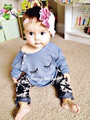 Retail 2016 New  Autumn outfit suits Printed sleeping eyes eyes lovely fashion cotton baby girl sets 2pcs T-shirt + pants