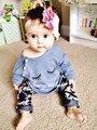 Varejo 2016 New Outono ternos roupa de dormir Impresso olhos olhos encantador moda cotton baby girl define 2 pcs T-shirt + calças