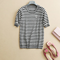 Striped Knitted Pullover Women 2017 Spring Summer Loving Heart Embroidery Short Sleeve Jumpers Women New Sweter Mujer 2017