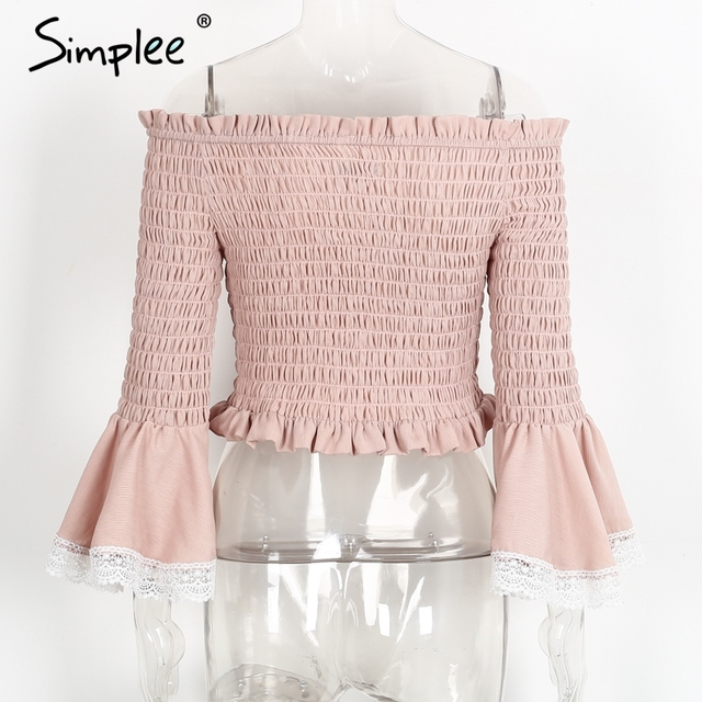 Simplee Sexy flare sleeve white blouse Streetwear off shoulder women blouse shirt Casual summer beach pleated chiffon tops