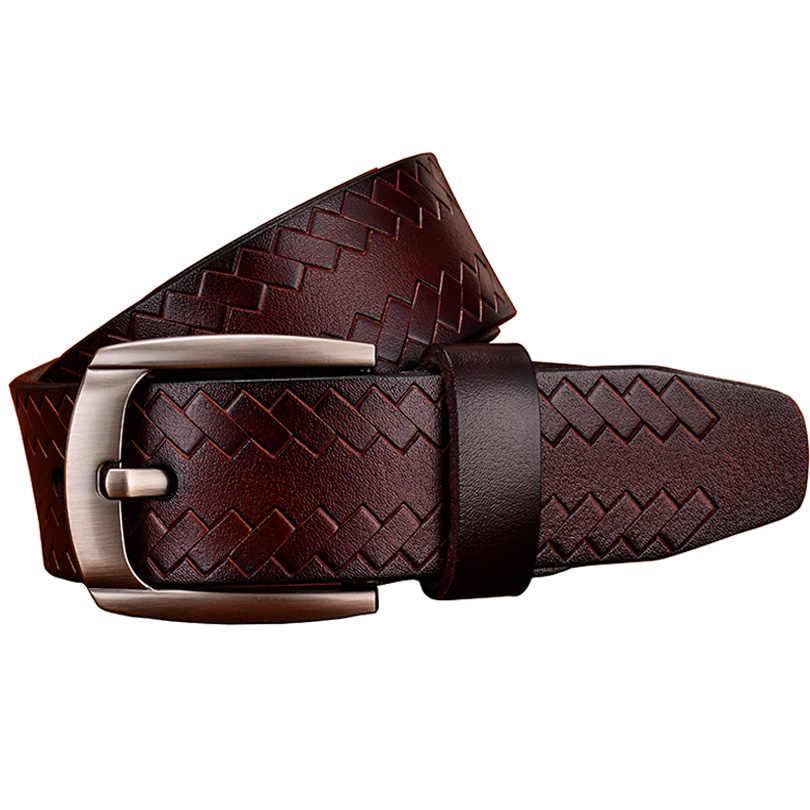 Fashion Kulit Asli Ikat Pinggang untuk Pria Desain Pin Gesper Sabuk Pria Kualitas Tinggi Lapisan Kedua Sapi Kulit Tali untuk Jeans lebar 3.8