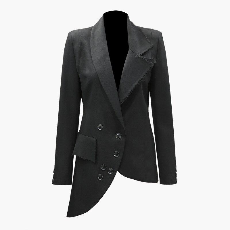 New Fashion Spring And Autumn Asymmetric Bottom Skew Button Slim Long Sleeve Suit Jacket Women's Slim Black Blazer Coat