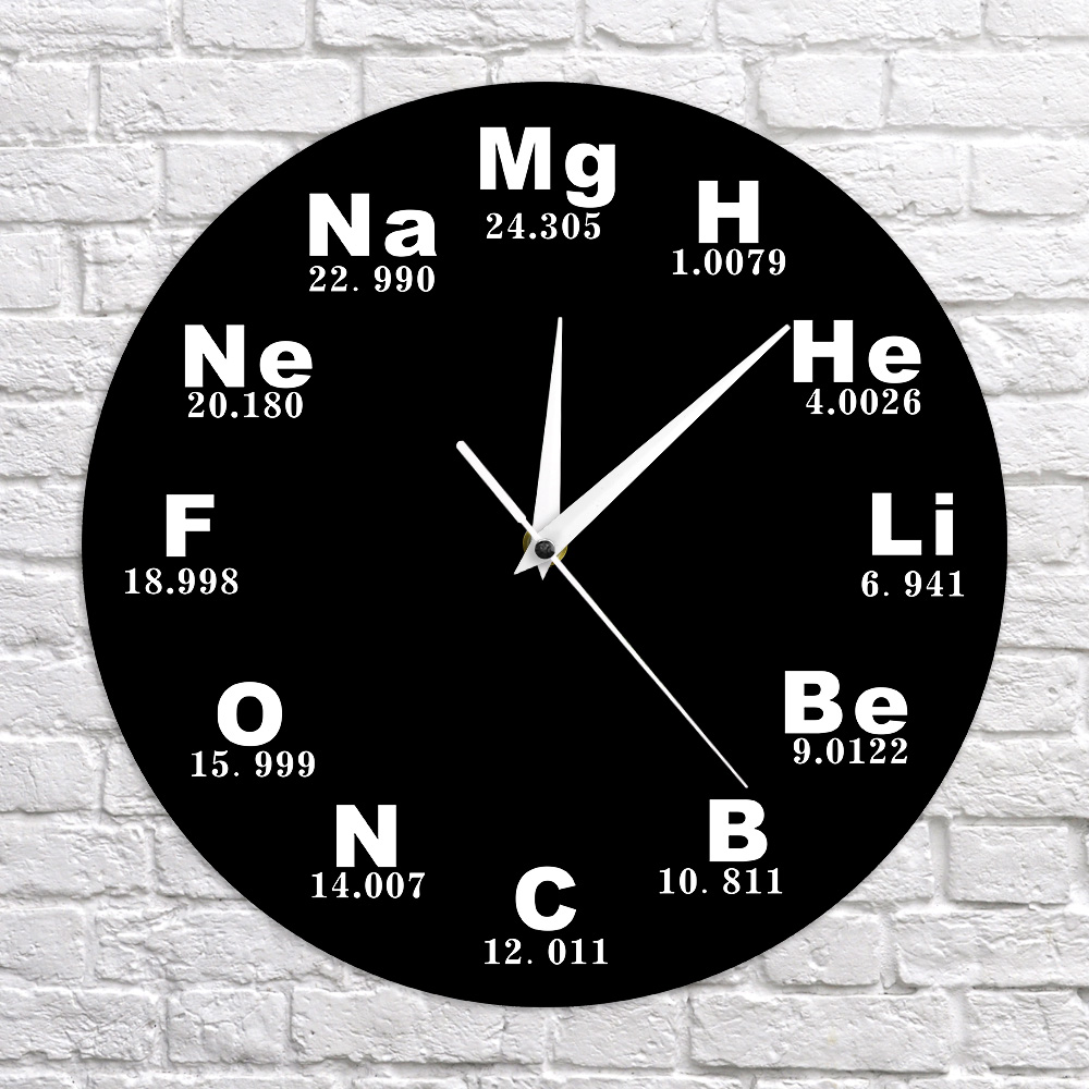 Chemical Symbols Wall Clock Chemical Elements Periodic Table Clock Biology Wall Art Novelty Clock Watch Science Teachers Gift