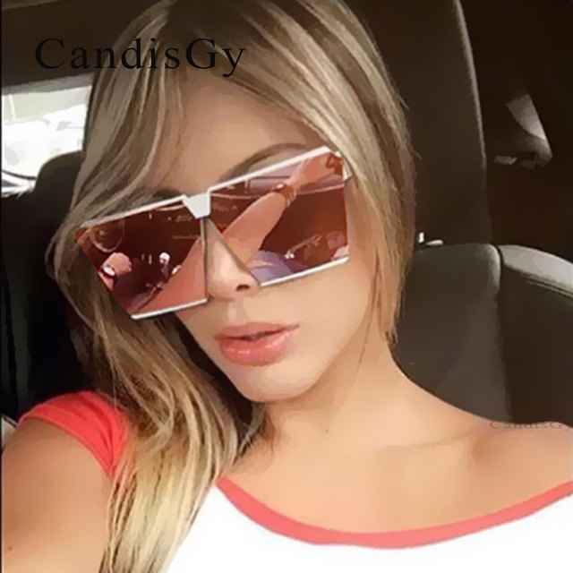 Cool 2017 New Square Hip Hop Fashion Brand Designer Sunglasses Men Women Mirror Sun glasses Lady Flat Oversized size Eyeglasses 2