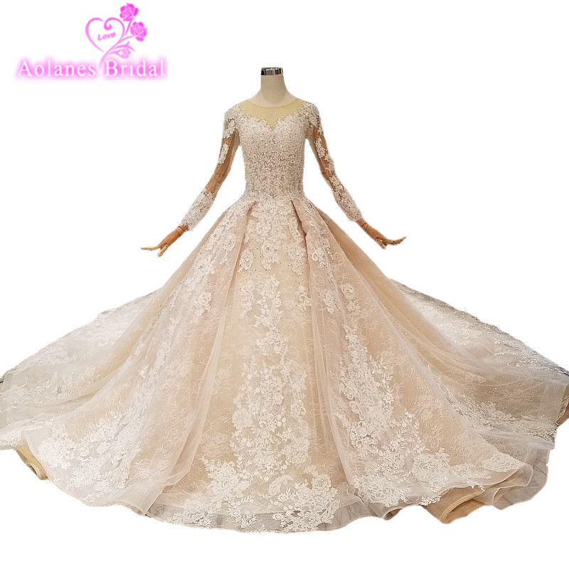 2019 Champagne Lace Scoop Cathedral Train Long Sleeves Bridal Gowns Lace Up Ball Gown Vintage Wedding Dresses Vestido De Noiva