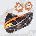 1 par 8 Dentes Garra Gripper Gelo Crampons gelo Aço Inoxidável tênis para caminhada Antiderrapantes Sapatos de Escalada da Neve Ice Shoe Spikes Cadeia 5-11 tamanho