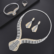 SisCathy 4PCS Full Cubic Zirconia Jewellry Necklace/Bangle/Ring/Earrings For Women Luxury Wedding Big Statement Jewelry Sets недорого