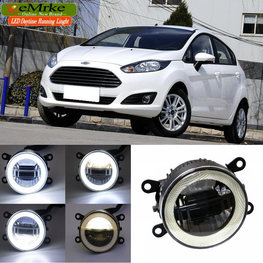 eeMrke For <font><b>Ford</b></font> <font><b>Fiesta</b></font> <font><b>2003</b></font>- 2016 3 in 1 LED DRL Angel Eye Fog Lamp Car Styling High Power Daytime Running Lights <font><b>Accessory</b></font> image