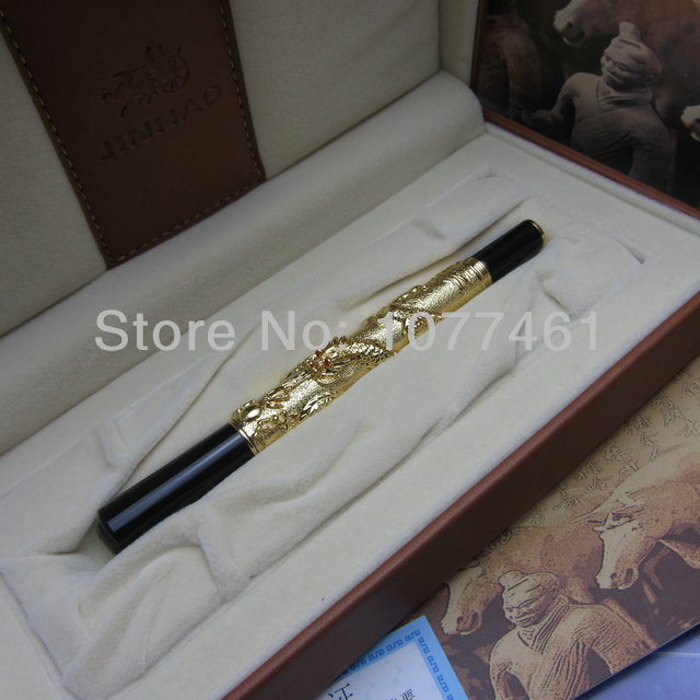 Advanced Fountain Pen Jinhao Chinese Dragon gold Heavy Gift Pen with Original Gift Box J1173 jinhao a200 chinese double dragons playing with the pearl beautiful advanced roller ball pen