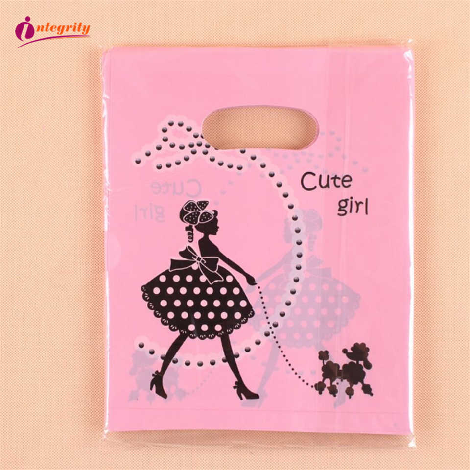 INTEGRITY 15*20cm/20*25cm 50-25pcs Wedding gift boutique gift shopping packaging plastic Handle Bags Jewelry Plastic package Bag