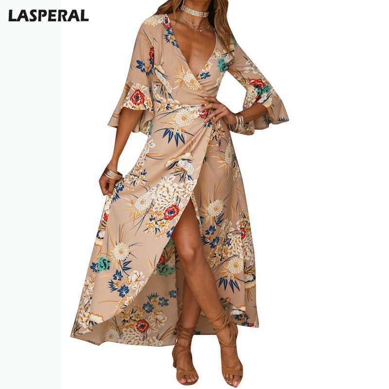 c1ee3069542 LASPERAL 2019 Sexy Vintage Bohemian Maxi Dress Party Dress V-neck Split  Robe Femme Floral