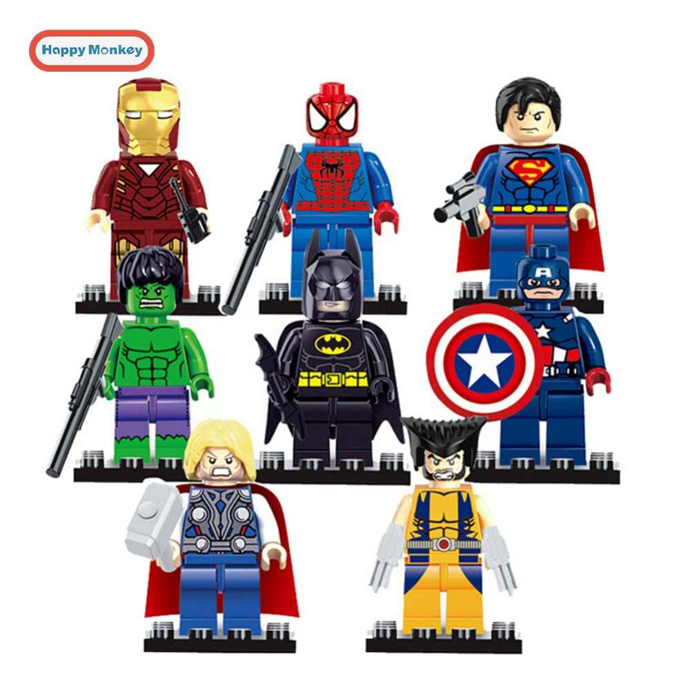 Super Hero Building Blocks Batman Iron Man Robin Hulk Spiderman Thanos Compatible With LegoINGly Toys for Children figures bk20