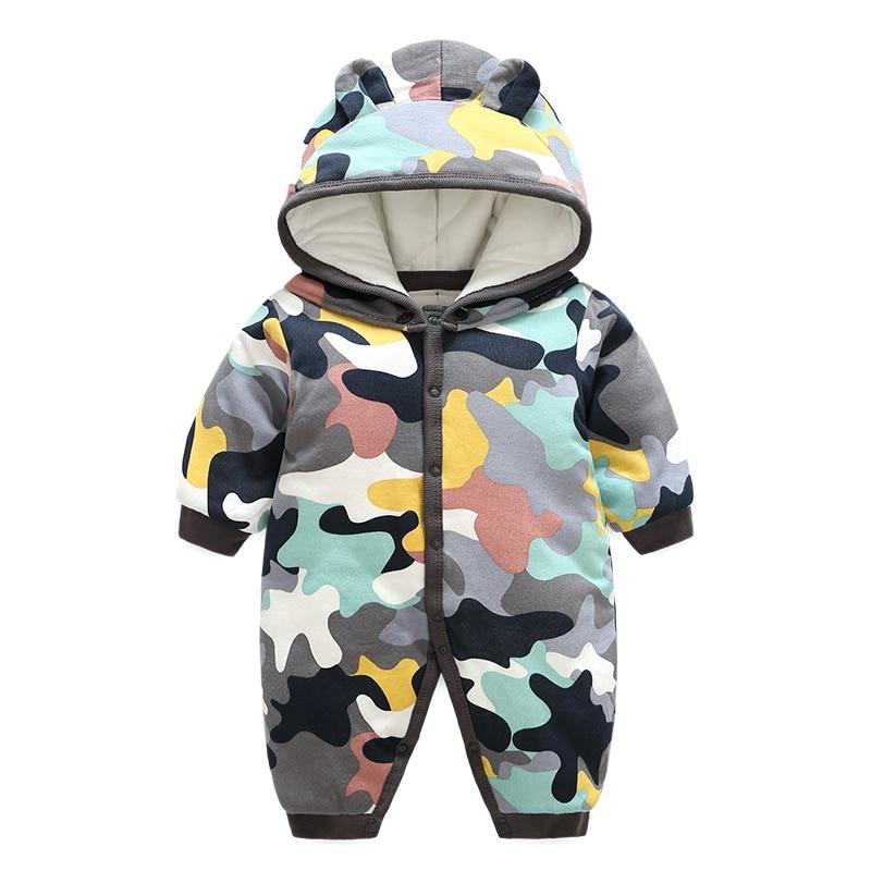 3d14a4b7d Cute Baby Boy Girl Winter Rompers Hooded Camo Romper Boys Warm ...