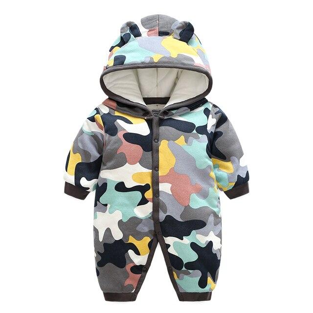 26297c668 Cute Baby Boy Girl Winter Rompers Hooded Camo Romper Boys Warm ...