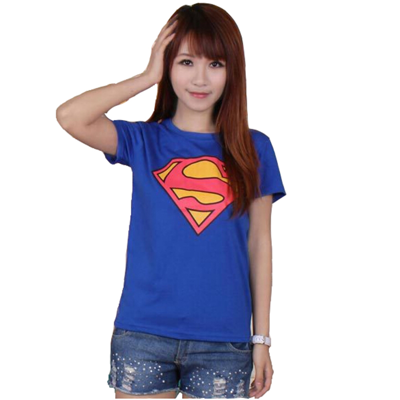 2018 Ny høj kvalitet Superman Save The Planet Lovers Pullover Cotton Kortærmet T-shirt College Wind Shirt Kvindelig version