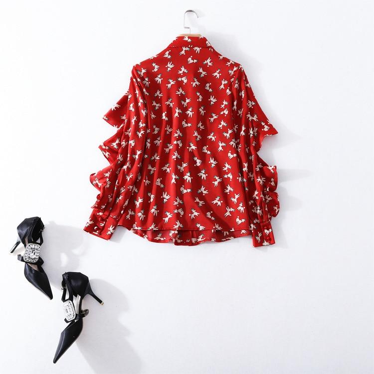 Nouvelle shirt Qualité Longues 2018 Unique Mousseline Fuchsia Blouse De Manches T Printemps Office Haute Piste Été Chemise Poitrine En Femmes Marque Soie Lady Imprimer wvm0Nny8O