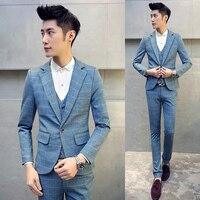 Бесплатная доставка костюм Homme M 5XL корейской моды Slim Fit из 3 предметов мужские костюмы повседневные деловые свадебные костюмы для мужчин ман