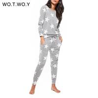 WOTWOY Stars Print Two Piece Set Women Winter Pyjamas Sets Casual O Neck Cotton 2 Piece