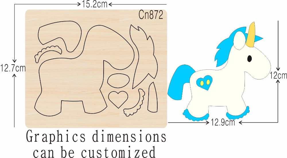 Unicorn 4 new wooden mould cutting dies for scrapbooking Thickness 15 8mm