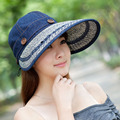 SEGLA Women Casual Summer Hats Straw Beach Hats Solid Denim Snapback Foldable Wide Brim Anti uv Sun Hat Panama Outdoor Visor Cap