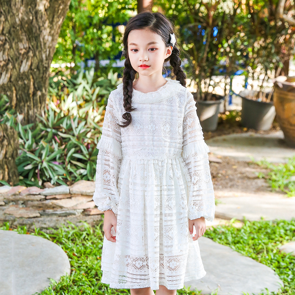 2018 Children Evening Dresses For Girls Spring O-neck Princess Wedding Dress Baby Girl Costume Sweet Lace Kids Clothes 3ds397 baby girls flower dresses for weddings enfants party dress sweet princess one piece elsa costume sleeveless o neck 5 colors