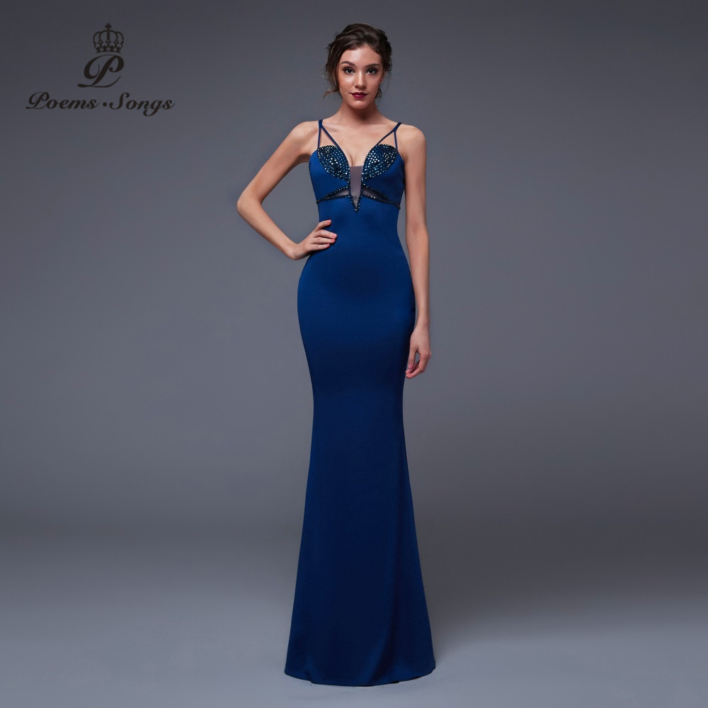 Poems Songs2019 New Sexy Personality Mermaid  Evening Dress Prom GownsParty Dress Vestido De Festa Elegant Vintage Robe Longue