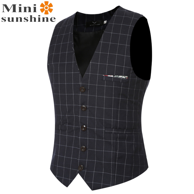 Fashion Vests for Men Wholesale Men's Multi-pocket 2016 Wedding Lattice Formal Designer Sleeveless Jackets Maison Scotch VS05