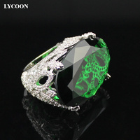 LYCOON Newest fashion party ring silver plated green Oval clear big crystal rings prong setting Cubic Zirconia in flower design