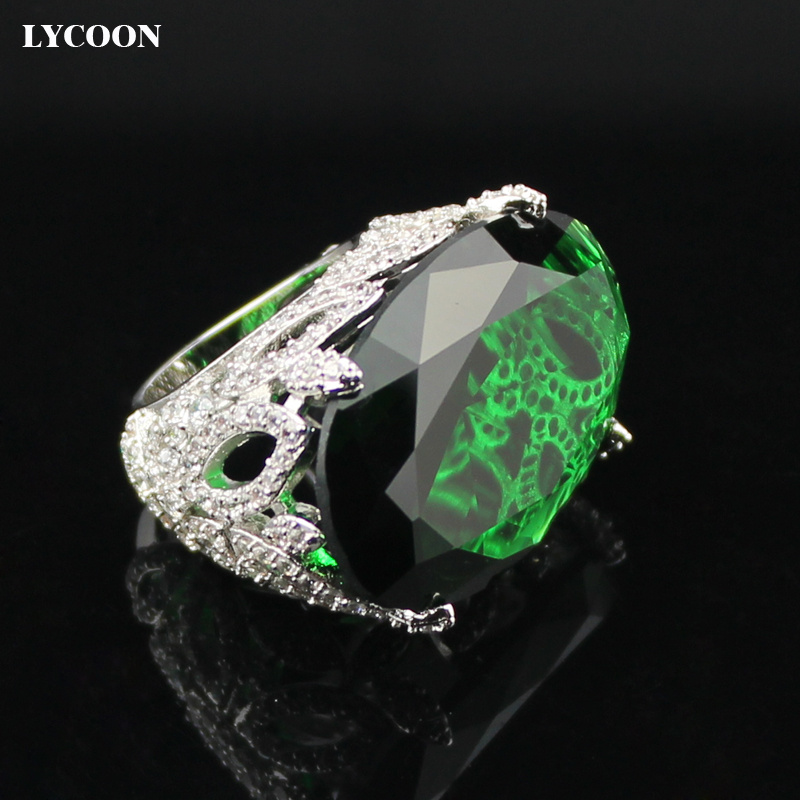 все цены на LYCOON Newest fashion party ring silver plated green Oval clear big crystal rings prong setting Cubic Zirconia in flower design