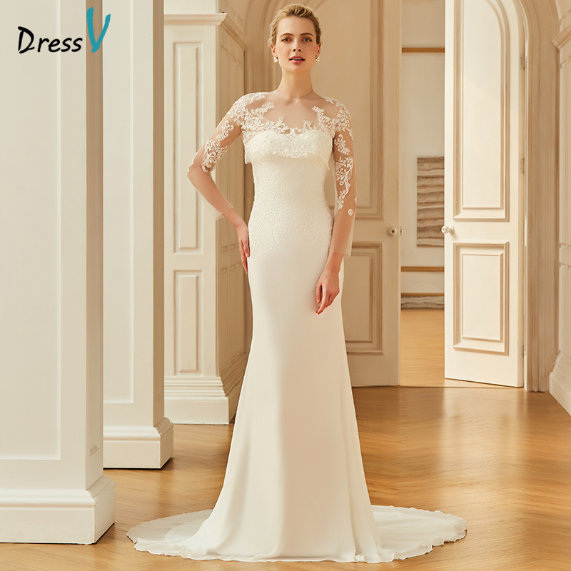 2015 New Elegant Full Long Sleeves Mermaid Wedding Dresses: Dressv Ivory Wedding Dress Scoop Neck Court Train Long
