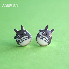 2017 Summer Totoro Earrings for Women Girl Stud Earrings Cartoon Anime Silver Needle Handmade Fashion Jewelry Japanese Style