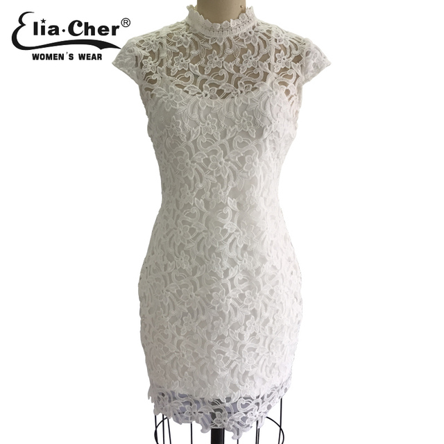 Elia-Cher Brand, Chinese Style Lace White Evening / Party Dress