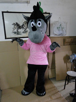 Pink Clothes Wolf Mascot Costume Party Costumes Adult Size Fancy Dress Suit Free Shipping