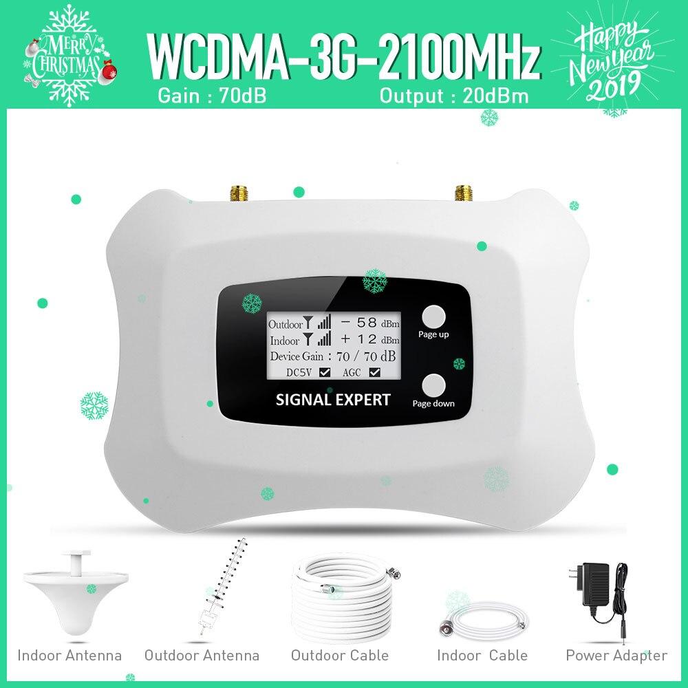 La inteligente LCD display 3G móvil amplificador de señal 2100 MHz WCDMA repetidor 3G celular amplificador de señal amplificador kit de